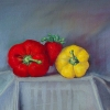 "Produce XIII: Between 15"" x 16"" (38 x 41 cm), pastel"