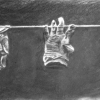 "Three Hands 14.5"" x 32"" (37 x 82 cm), charcoal"